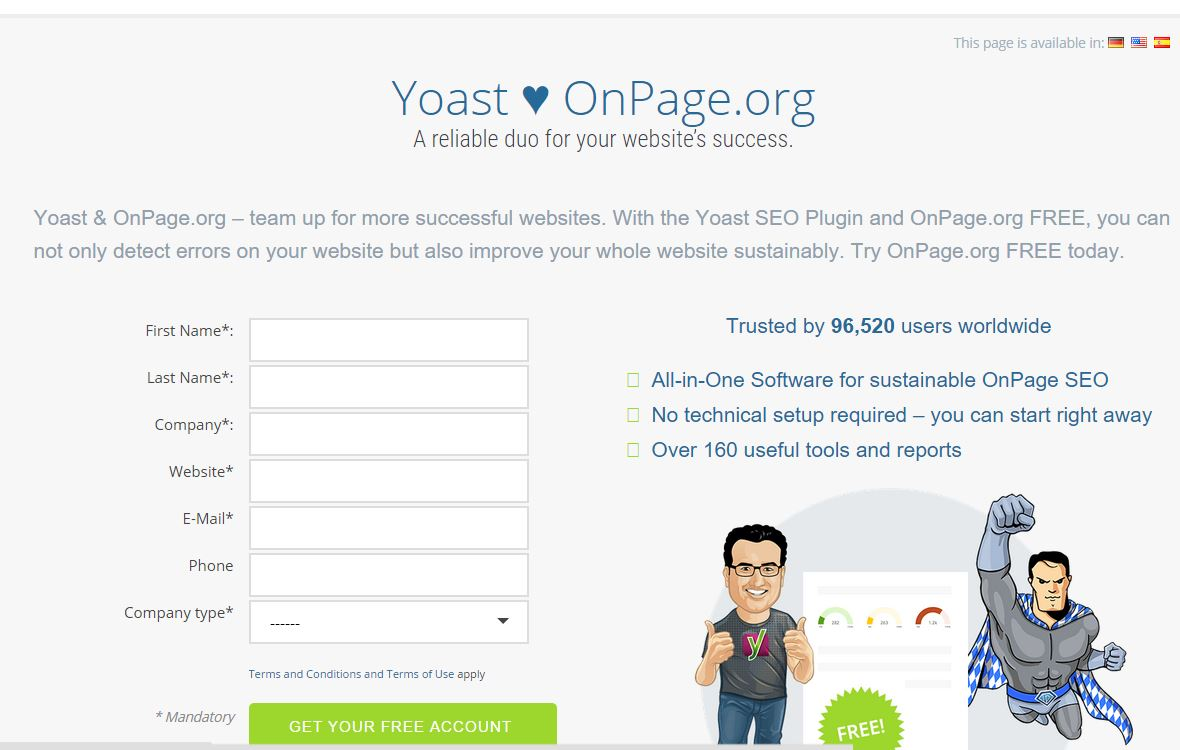 Register with onepage.org (wordpress) 2016 Improve Site Indexibility