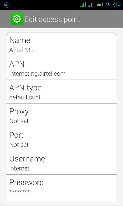 Airtel Nigeria internet Configuration settings APN[Updated