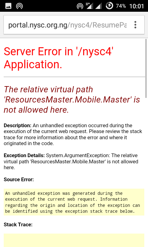 How To Log into Your NYSC Portal Dashboard When Server Error Appears