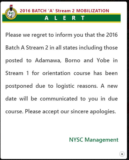 2016 Batch A Stream 2 NYSC Mobilization Postponed