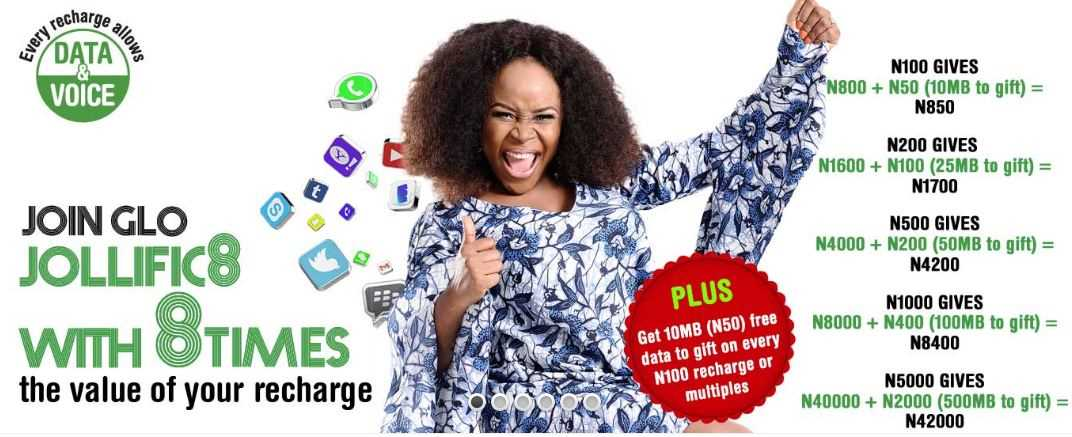 GLO JOLLIFIC8 Gives 8 Times your Recharge