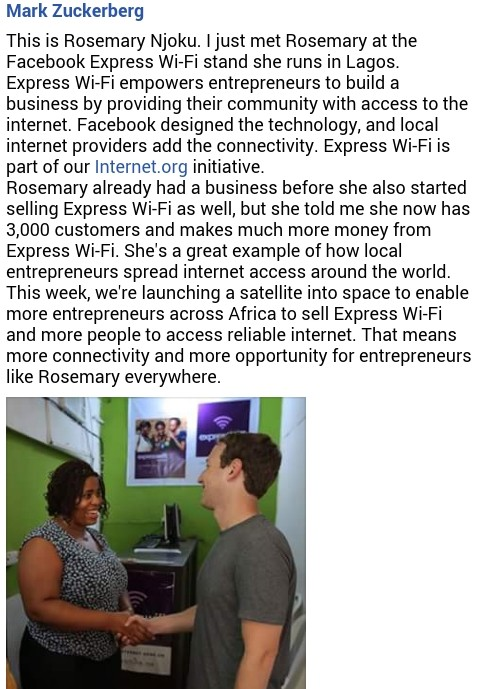 Mark Zuckerberg Shares Experience with Nigerian Food