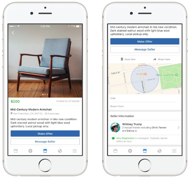 Facebook Marketplace lets you Buy and Sell