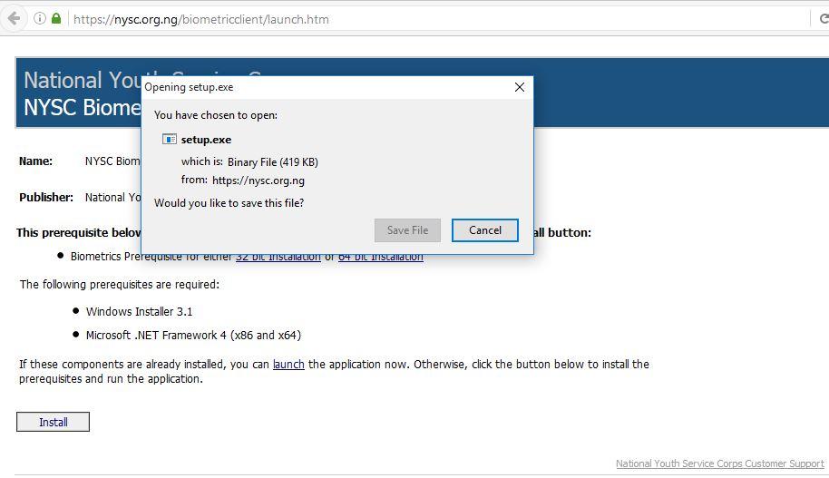 NYSC Registration Capture Fingerprints via Desktop Client