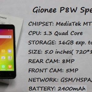 Gionee P8W Price Specification Nigeria India Kenya Ghana China UAE Saudi Arabia Pakistan
