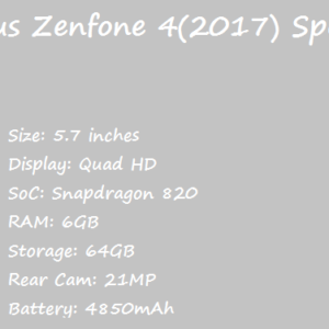 Asus Zenfone 4(2017) Price Specification Nigeria China India Pakistan Italy UAE US UK