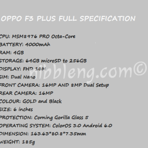 OPPO F3 Plus Price Specification Nigeria China India USA UK Canada UAE Dual Selfie Camera