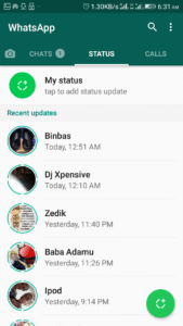 whatsapp status update