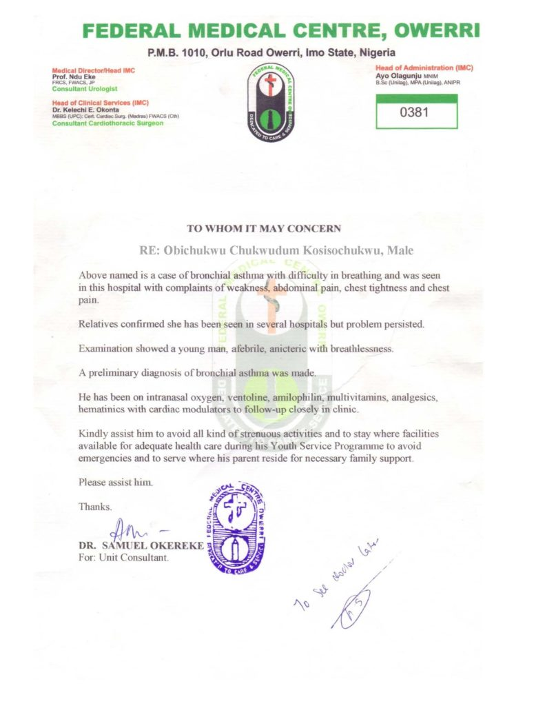 Nysc Relocation Medical Certificate Sample Nibbleng