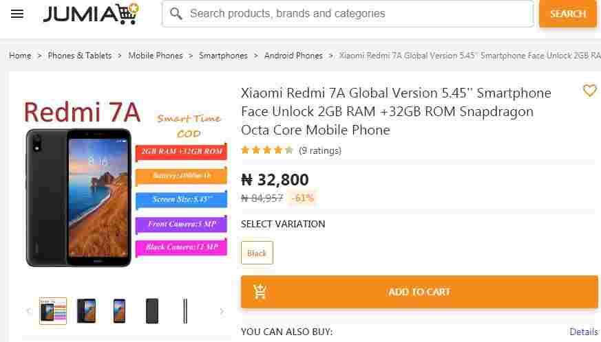 Xiaomi Redmi 7A Nigeria